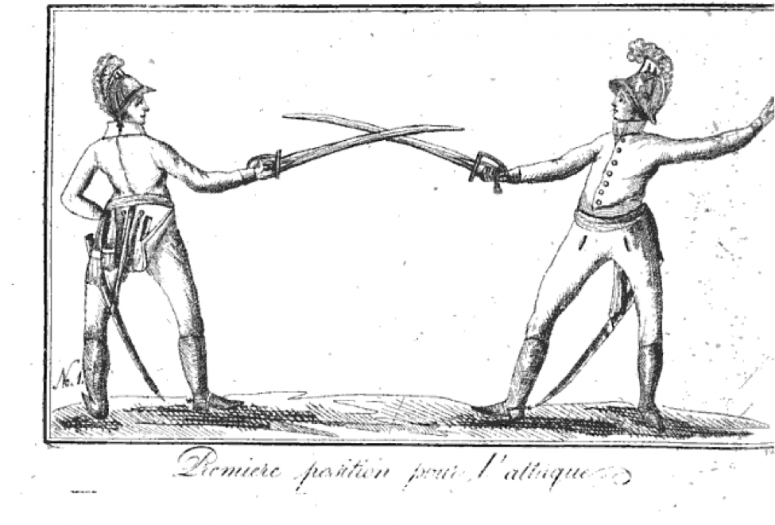 de Saint Martin: L 'art de faire des armes réduit à ses vrais principes,  L'art de l'espadon (1804), plate 1.   In fencing on foot, the nails of the hand have to be hold upwards, on horse the nails have to be hold downwards.