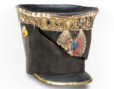 The shako of Marbot with clear traces of the saber slash he received in his fight with English soldiers in Spain (1811) Source:  http://www.musee-armee.fr/collections/base-de-donnees-des-collections/objet/shako-taillade-du-chef-descadron-commandant-marbot.html
