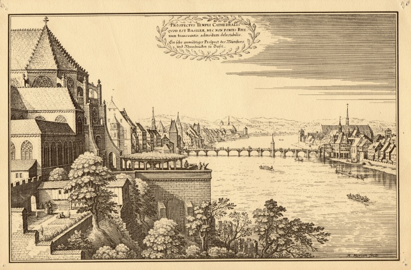 The view of Basel from the Münster Cathedral. By Matthäus Merian d.Ä. 1648