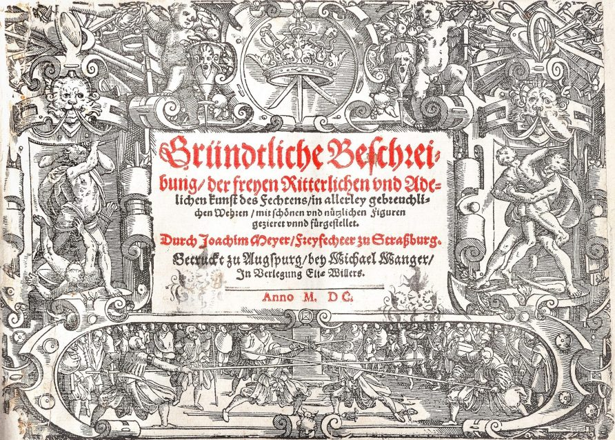 The coat of arms of the cutlers at the top of the cover of the 2nd edition of Joachim Meyer's Gründtliche Beschreibung der Freyen Ritterlichen und Adeligen Kunst Des Fechtens of 1570, printed in 1600.