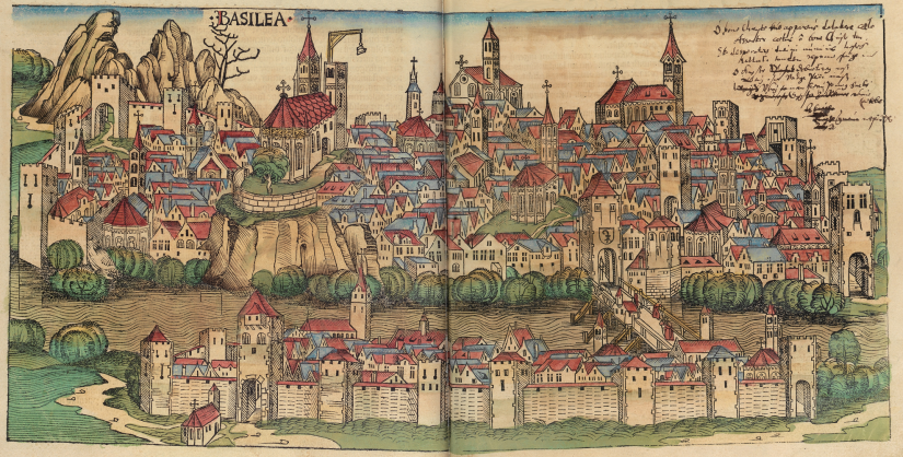 Basel, as it looked like ca 1493. From the Nuremberg Chronicles.