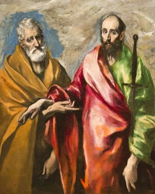 Saint Peter and Saint Paul, which holds a montante by his side. El Greco,  1595.