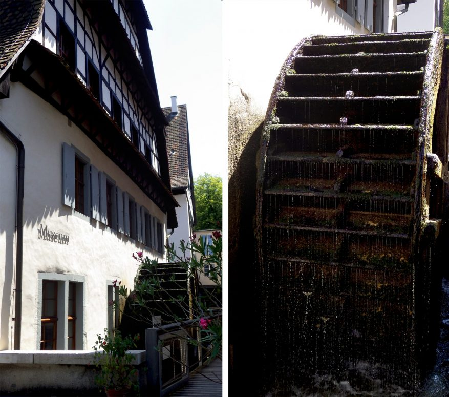 The only remaining water wheel of Basel