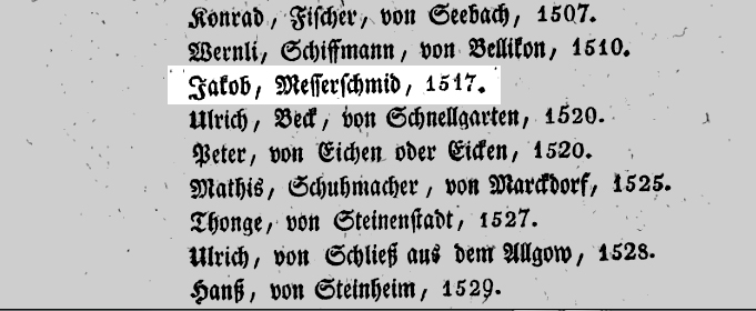 Jacob Meyer, cutler, is listed as a burger of Basel in 1517