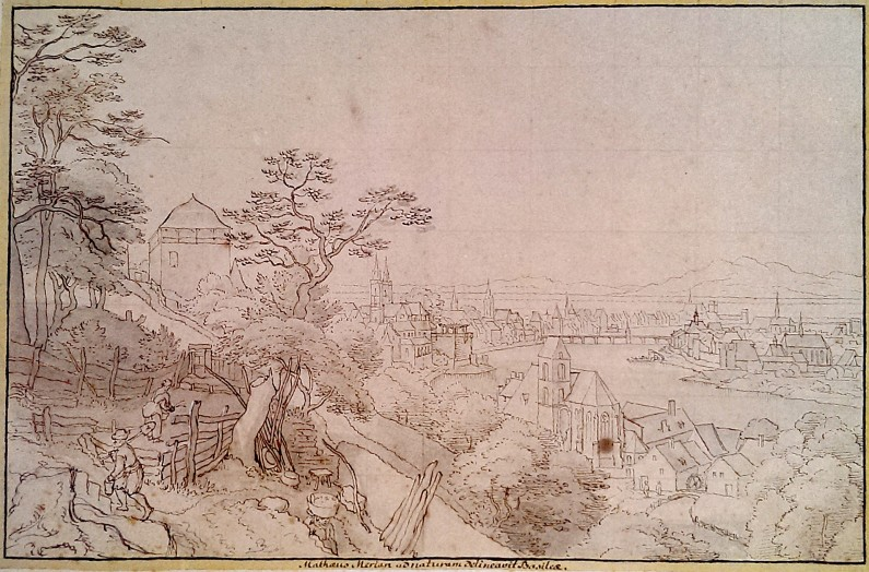 View over St. Alban, Basel, 1616. Water wheels visible at the bottom right. By Matthäus Merian d.Ä.