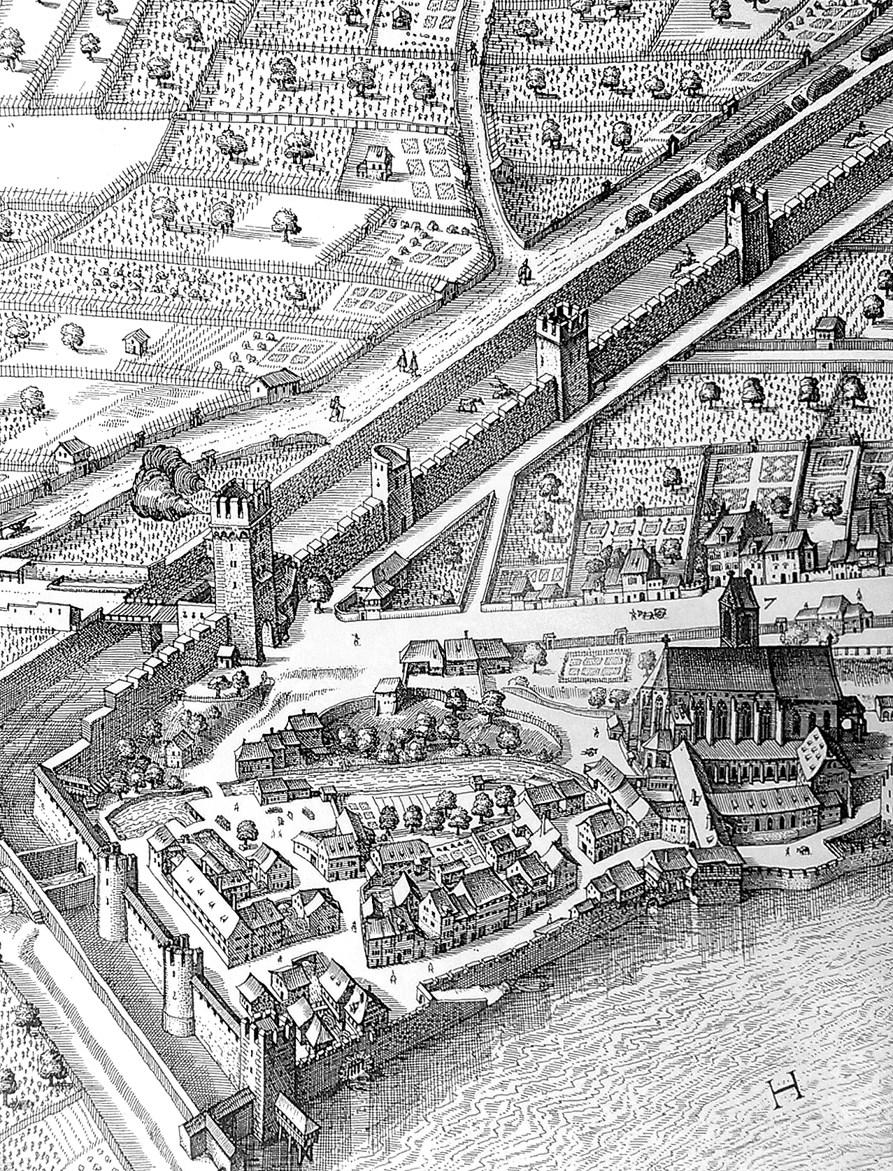 The area of St Albans, clearly showing the nine water wheels associated with paper making & book printing, knife, sword & armour making as well as milning. By Matthäus Merian, 1615.