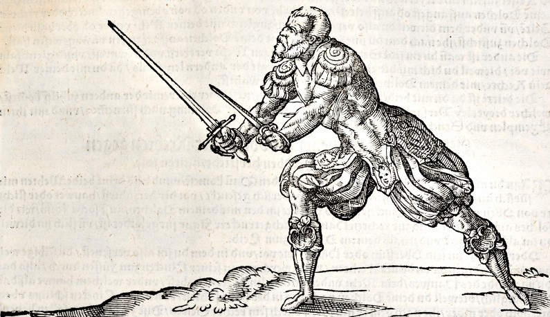Rapier fencer in Romanesque armour, from Meyer's 1570 treatise