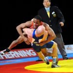 DavisAtopHidalgo copy.jpg: U.S. Army World Class Athlete Program wrestler Pfc. Jeremiah Davis (top) battles France's Sebastian Hidalgo during their opening match in the Greco-Roman 60-kilogram/132-pound division of the 2009 World Wrestling Championships on Sept. 26 in Herning, Denmark. Hidalgo won the match, 2-0, 3-0. Photo by Tim Hipps, FMWRC Public Affairs