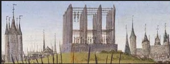 The gibbet at Montfaucon, outside the walls of Paris. Detail of a miniature by Jean Fouqet. Bibliothèque nationale de France MS français 6465, f. 236.