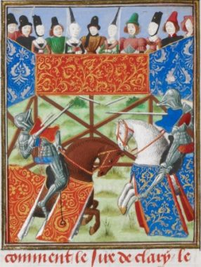The joust between the lord of Le Trémoille and Peter de Courtenay in the lists at Saint-Martin-des-Champs, as imagined by an illustrator a century later. British Library Harley MS 4379, f. 19v.