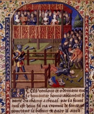 The end of a judicial duel. Bibliothèque nationale de France, MS français 2258, f. 23v.