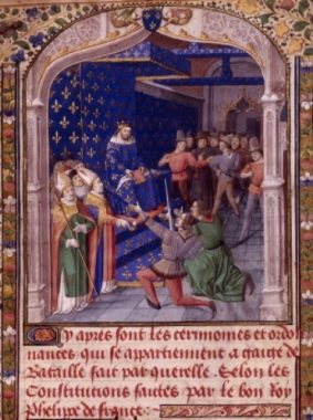 A fifteenth-century miniature imagines an appeal of battle before the king of France. Bibliothèque nationale de France, MS français 2258, f. 2r.